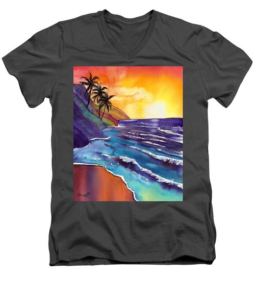 Kauai Na Pali Sunset Men's V-Neck T-Shirt by Marionette Taboniar