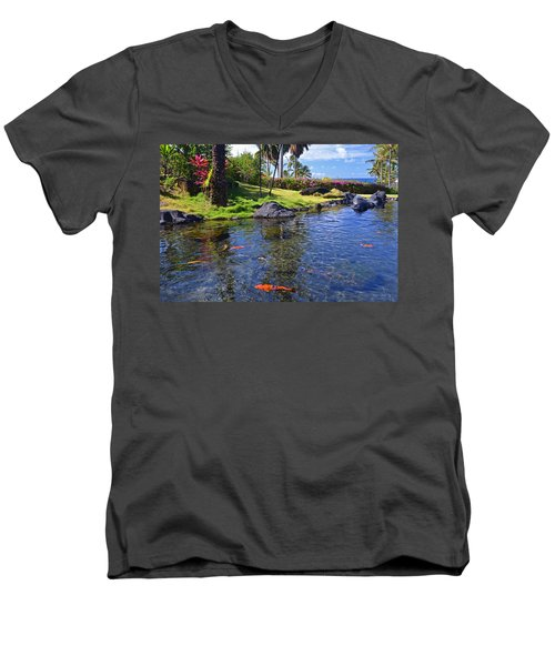 Kauai Serenity Men's V-Neck T-Shirt by Marie Hicks