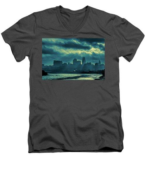 Kaw Point Kansas City Skyline Men's V-Neck T-Shirt