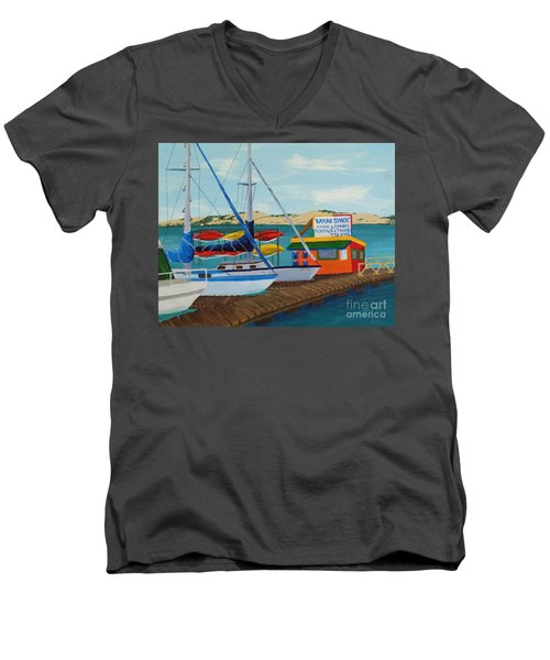 Men's V-Neck T-Shirt featuring the painting Kayak Shack Morro Bay California by Katherine Young-Beck