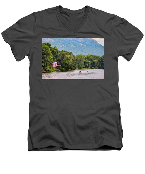 Kayaking On Nashawannuck Pond Easthampon Men's V-Neck T-Shirt