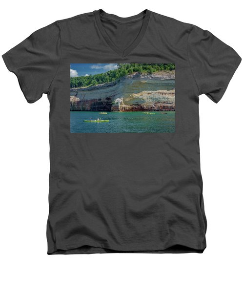 Kayaking The Pictured Rocks Men's V-Neck T-Shirt