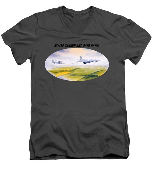 Men's V-Neck T-Shirt featuring the painting Kc-130 Tanker Aircraft And Pave Hawk With Banner by Bill Holkham
