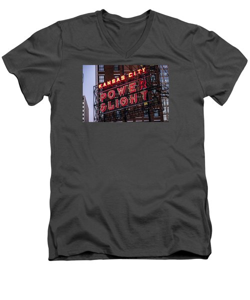 Men's V-Neck T-Shirt featuring the photograph Kc Power And Light by Jim Mathis