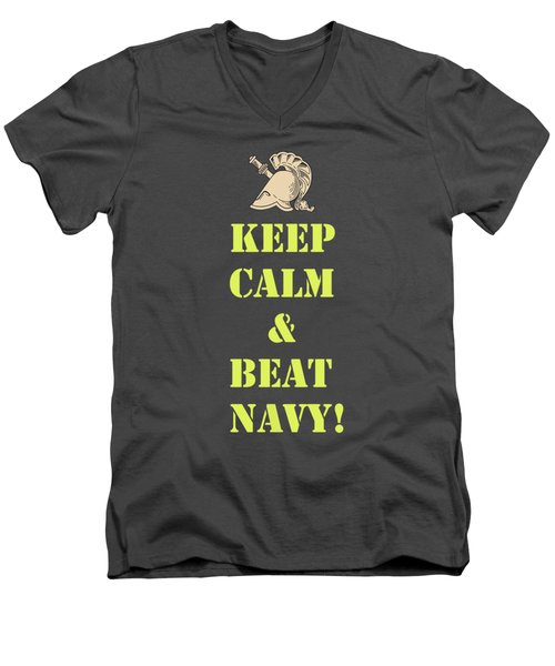 Keep Calm And Beat Navy Men's V-Neck T-Shirt by Dan McManus
