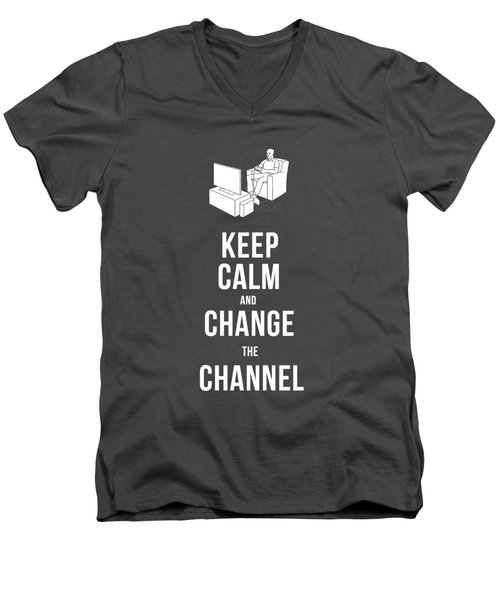Keep Calm And Change The Channel Tee Men's V-Neck T-Shirt by Edward Fielding