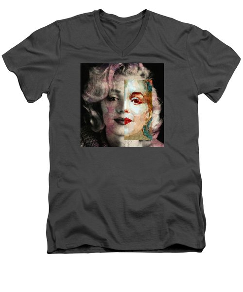 Men's V-Neck T-Shirt featuring the painting Keep Me Safe Lie With Me Stay Beside Me Don't Go by Paul Lovering