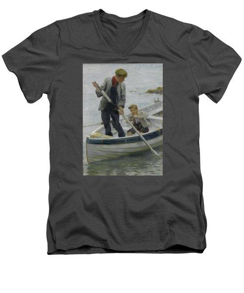 Keeping Her Off Men's V-Neck T-Shirt by Henry Scott Tuke