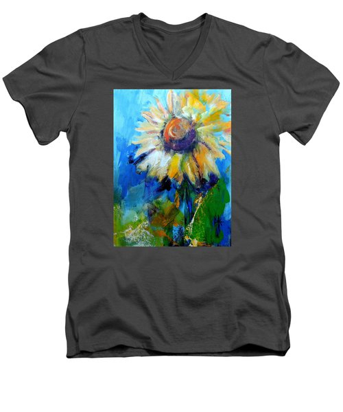 Men's V-Neck T-Shirt featuring the painting Kellie's Sunflower by Jodie Marie Anne Richardson Traugott          aka jm-ART