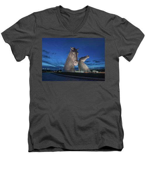 Men's V-Neck T-Shirt featuring the photograph Kelpies  by Terry Cosgrave