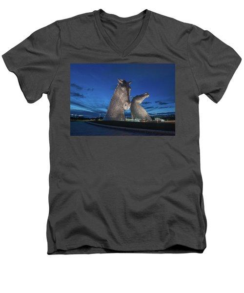 Kelpies  Men's V-Neck T-Shirt by Terry Cosgrave
