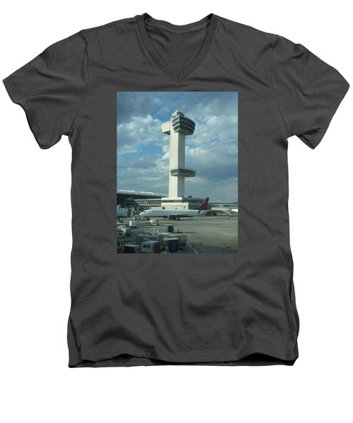 Kennedy Airport Control Tower Men's V-Neck T-Shirt by Christopher Kirby