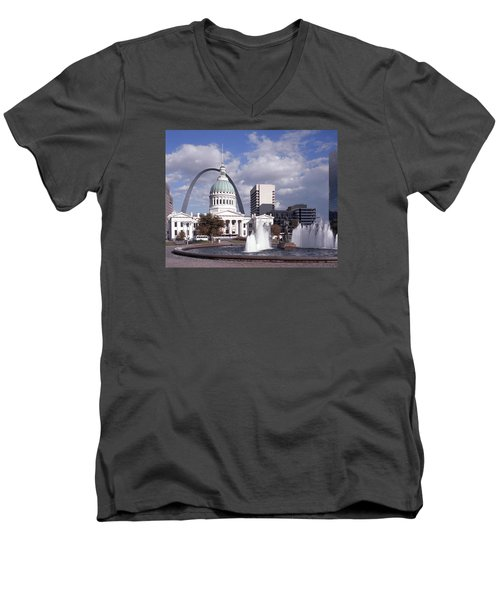 Men's V-Neck T-Shirt featuring the photograph Kiener Plaza - St Louis by Harold Rau