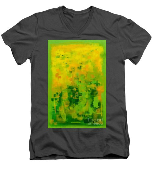 Men's V-Neck T-Shirt featuring the painting Kenny's Room by Holly Carmichael