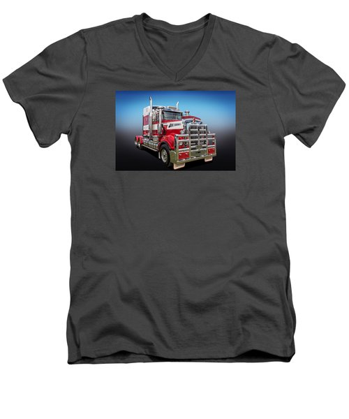 Men's V-Neck T-Shirt featuring the photograph Kenworth by Keith Hawley