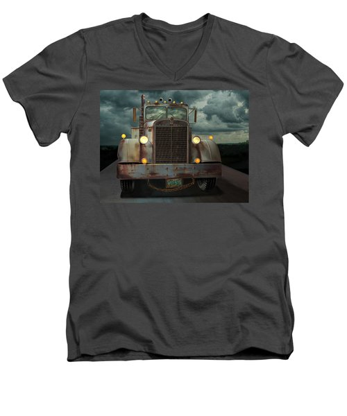 Men's V-Neck T-Shirt featuring the digital art Kenworth Old Workhorse by Stuart Swartz