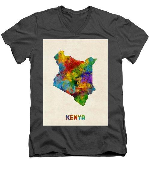 Men's V-Neck T-Shirt featuring the digital art Kenya Watercolor Map by Michael Tompsett