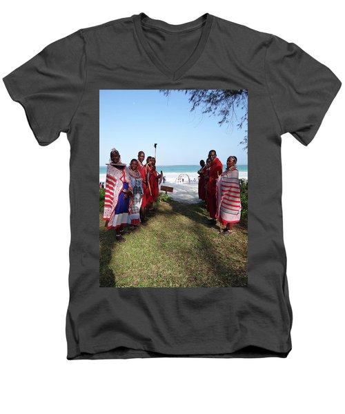 Kenya Wedding On Beach Maasai Bridal Welcome Men's V-Neck T-Shirt