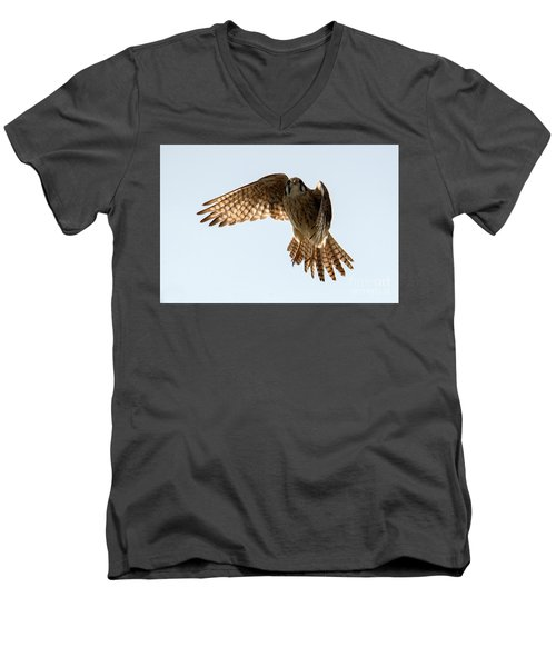 Men's V-Neck T-Shirt featuring the photograph Kestrel Hover by Mike Dawson