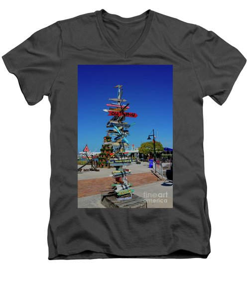 Key West Destination Sign Men's V-Neck T-Shirt