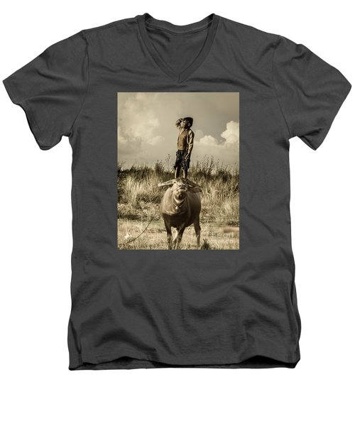 Men's V-Neck T-Shirt featuring the photograph Kid And Cow by Arik S Mintorogo