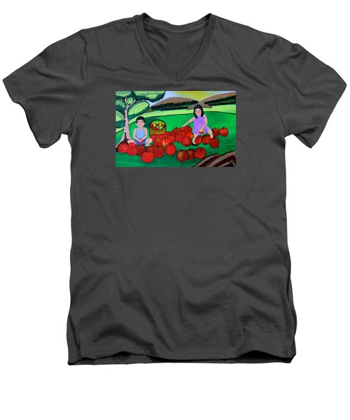 Men's V-Neck T-Shirt featuring the painting Kids Playing And Picking Apples by Lorna Maza
