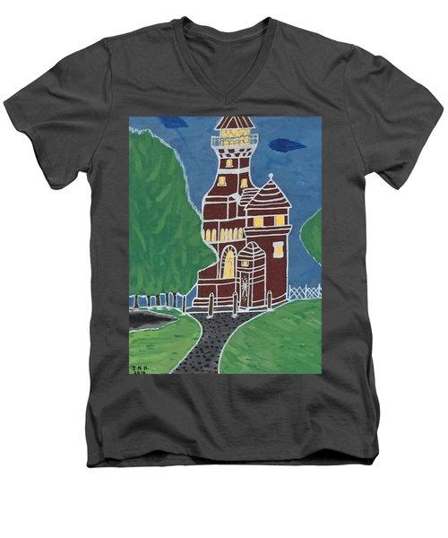 Kiel Germany Lighthouse. Men's V-Neck T-Shirt by Jonathon Hansen