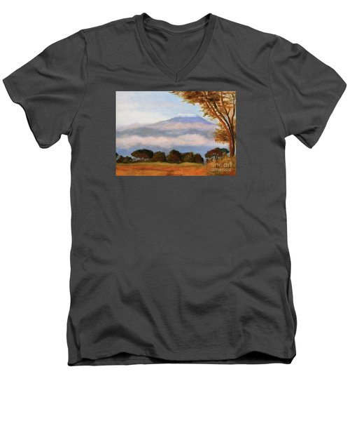 Men's V-Neck T-Shirt featuring the painting Kilamigero by Marcia Dutton