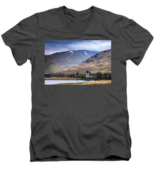 Kilchurn Castle On Loch Awe In Scotland Men's V-Neck T-Shirt