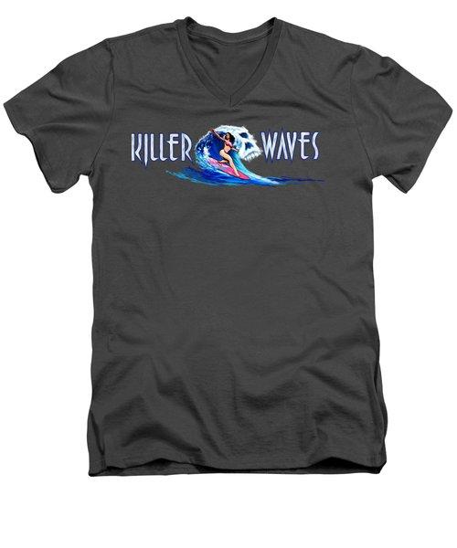 Killer Waves Skull Pink Men's V-Neck T-Shirt