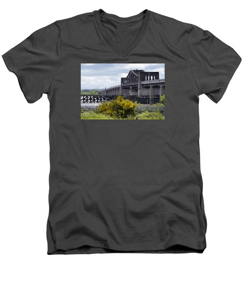 Men's V-Neck T-Shirt featuring the photograph Kincardine Bridge by Jeremy Lavender Photography