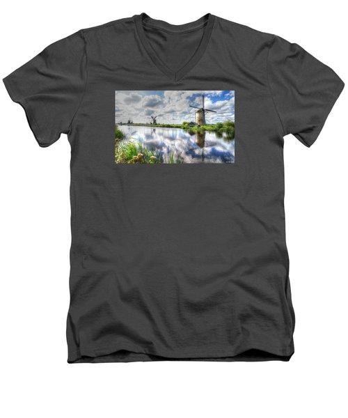 Kinderdijk Men's V-Neck T-Shirt by Uri Baruch