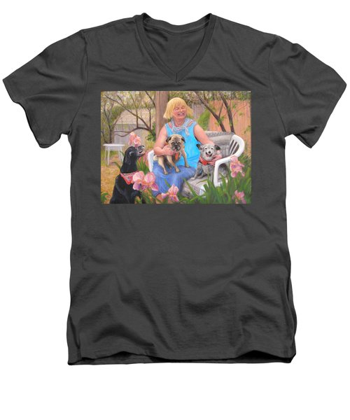 Men's V-Neck T-Shirt featuring the painting Kindred Spirits by Donelli  DiMaria