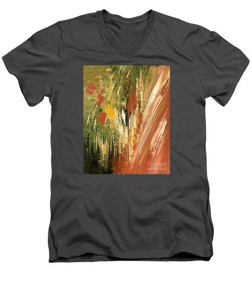 Men's V-Neck T-Shirt featuring the painting Kinetic Creativity by Tatiana Iliina