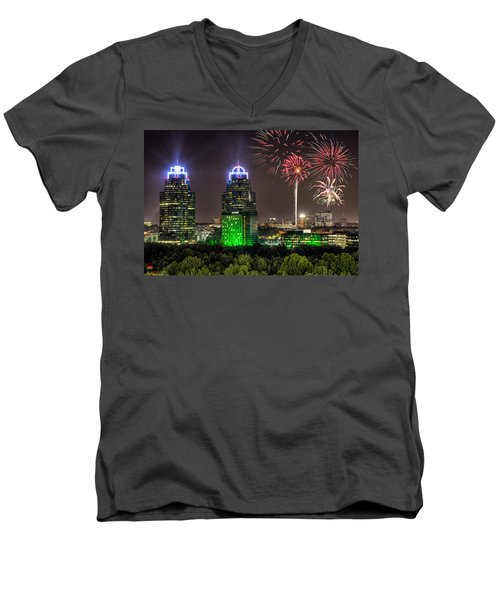 Men's V-Neck T-Shirt featuring the photograph King And Queen Buildings Fireworks by Anna Rumiantseva
