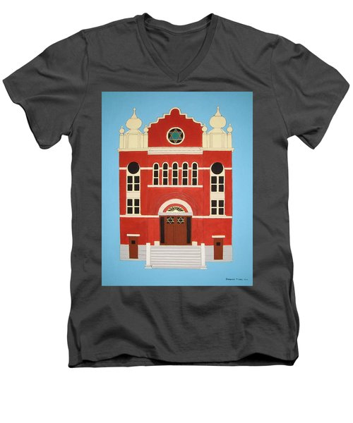 Men's V-Neck T-Shirt featuring the painting King Edward Street Shul by Stephanie Moore