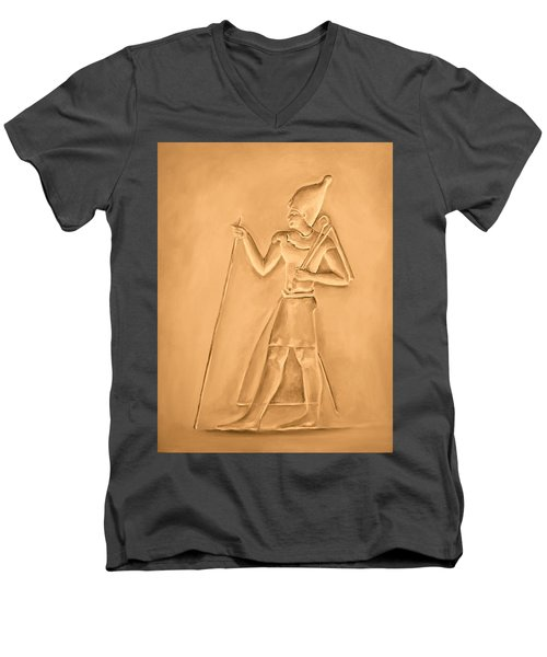 Men's V-Neck T-Shirt featuring the painting King by Elizabeth Lock
