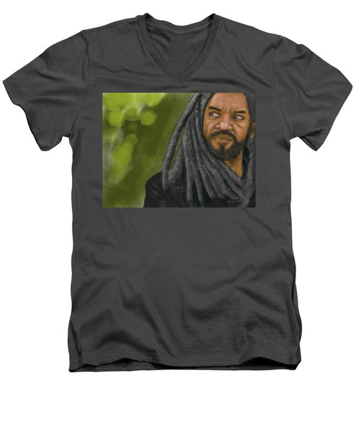 Men's V-Neck T-Shirt featuring the digital art King Ezekiel by Antonio Romero