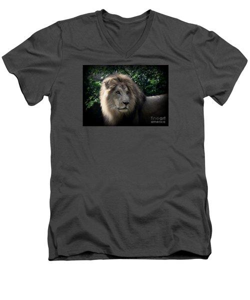 Men's V-Neck T-Shirt featuring the photograph King Kamau by Lisa L Silva