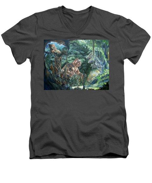 Men's V-Neck T-Shirt featuring the painting King Kong Vs T-rex by Bryan Bustard