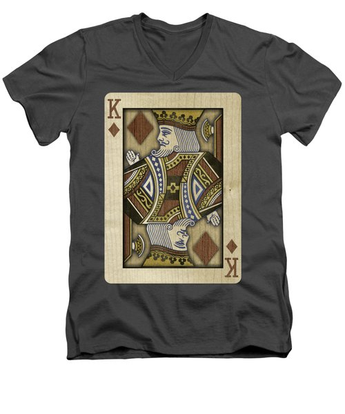 King Of Diamonds In Wood Men's V-Neck T-Shirt by YoPedro