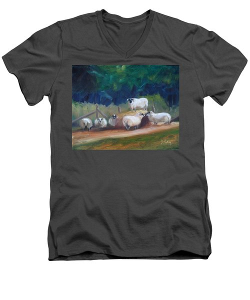 Men's V-Neck T-Shirt featuring the painting King Of Green Hill Farm by Donna Tuten