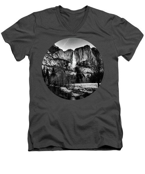 King Of Waterfalls, Black And White Men's V-Neck T-Shirt by Adam Morsa
