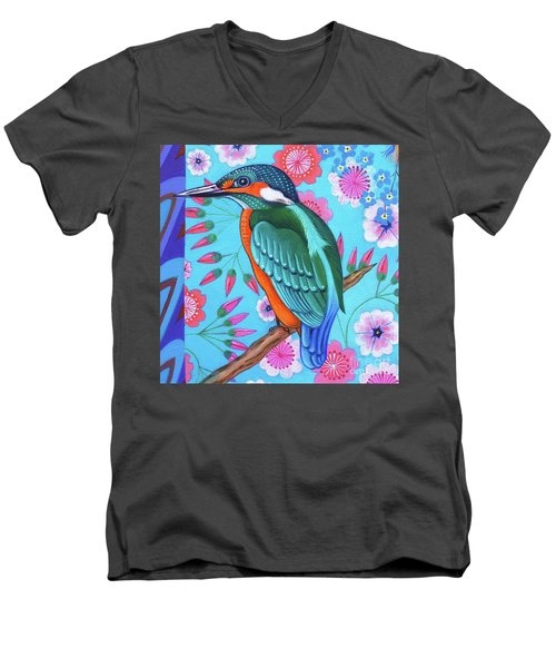 Kingfisher Men's V-Neck T-Shirt by Jane Tattersfield