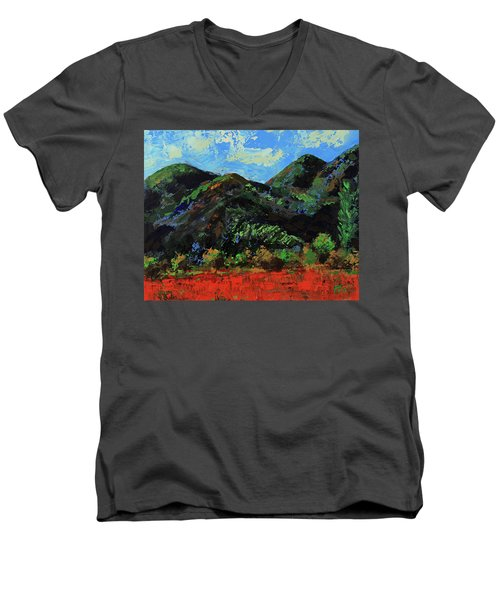 Men's V-Neck T-Shirt featuring the painting Kings Canyon Fall Colors by Walter Fahmy