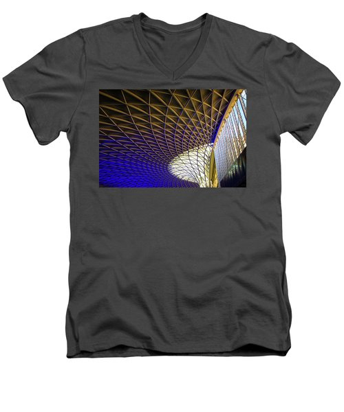 Men's V-Neck T-Shirt featuring the photograph Kings Cross Railway Station Roof by Matthias Hauser