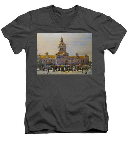 Kingston-city Hall Market Morning Men's V-Neck T-Shirt by David Gilmore