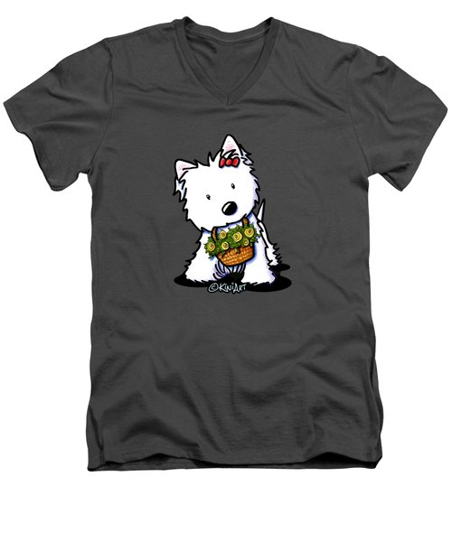 Kiniart Flower Basket Westie Men's V-Neck T-Shirt