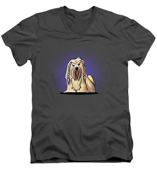 Kiniart Lhasa Apso Braided Men's V-Neck T-Shirt