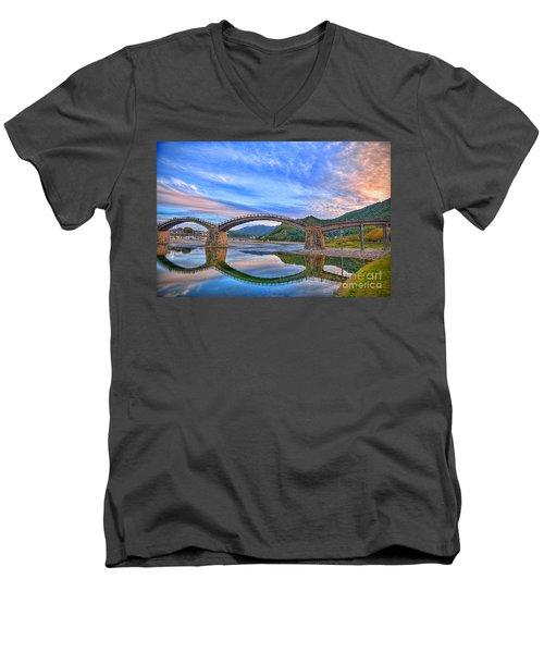 Kintai Bridge Japan Men's V-Neck T-Shirt by Rod Jellison